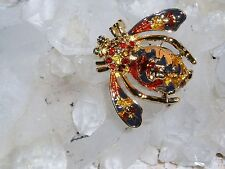 "Gorgeous JOAN RIVERS ""AUTUMN"" BEE Brooch with FALL Color Crystals  NEW  XMAS!"