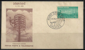 Telegraph Centenary India   1953   official first day cover FDC communications