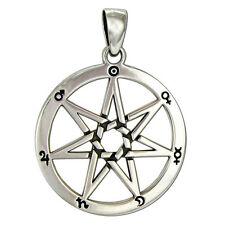 Large Sterling Silver Septagram Astrological Wicca Fairy Elven Star Pendant