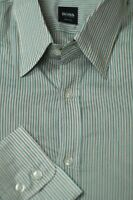 Hugo Boss Men's Gray & Gold Stripe Satin Cotton Casual Shirt XL XLarge