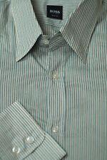 Hugo Boss Men's Gray & Gold Stripe Satin Cotton Casual Shirt XL XLarge