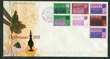 Australian First Day Cover. 1971 xmas block of 7 stamps