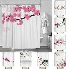 Sakura Floral Waterproof Polyester Bathroom Shower Curtain With Free 12 Hooks