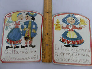 Two Cute Vintage Figgjo? Norsk Norway Folk Art Wall Tile Plaque Hand Painted