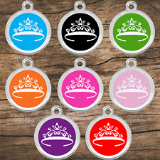 Stainless Steel Enamel Pet ID Tags Designers Round Crown