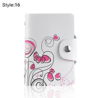 Women Leather Printed Business Card Holder ID Card Credit Card Organizer Wallet