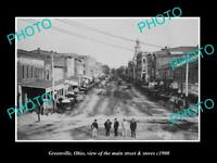 OLD LARGE HISTORIC PHOTO OF GREENVILLE OHIO THE MAIN STREET & STORES c1900