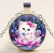Vintage Cute Cat Cabochon Tibetan silver Glass Chain Pendant Necklace #6107
