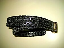 Cale' Genuine Reptile Black Leather Belt Size 32 Made In Spain NWOT