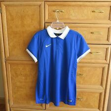 Women's Nike soccer dri-fit blue short sleeve polo shirt size L new NWT $70