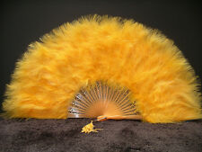 "MARABOU FEATHER FAN - GOLD Feathers 12"" x 20"" Burlesque/Wedding/Bridal/Mardigras"