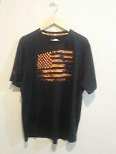 Under Armour Mens Tough Mudder T-Shirt Black & Orange Usa Flag Size 2Xl Fitted