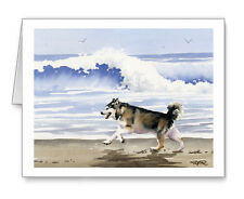 ALASKAN MALAMUTE AT THE BEACH Set of 10 Note Cards With Envelopes