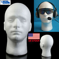 Male Styrofoam Foam Manikin Head Mannequin Wig Glasses Hat Display Stand USA