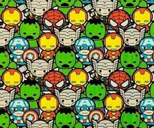 FAT QUARTER  MARVEL KAWAII CHARACTER AVENGERS SUPERHEROES QUILTING COTTON FABRIC