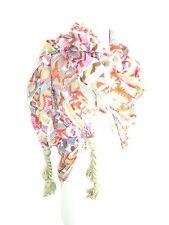 Sir Alistair Rai Scarf Wrap Global Ikat Tassel Bamboo olive green pink white New