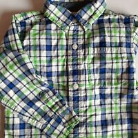 BABY GAP 3T Toddler Boy LONG SLEEVE Blue and Green Plaid Button Up SHIRT
