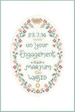 Engagement greeting card - Complete Cross Stitch Kit on 16 aida - COLOUR chart