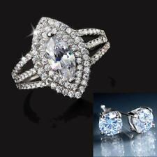 Simulated Diamond Marquise Cut Ring 1.3 TCW With Classic Ear Studs 1 TCW