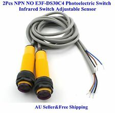 AU 2Pcs NPN NO E3F-DS30C4 Photoelectric Switch infrared Switch Adjustable Sensor