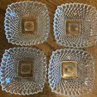 Vintage Diamond Cut Starburst Set Of Small Square Bowls 4