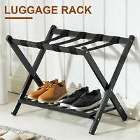Folding Luggage Rack with Shelf Travel Suitcase Shoe Storage Holder Wood Stand