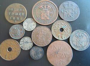 NETHERLANDS EAST INDIES, LOT (12) DIFFERENT COINS!!! STARTPRICE 1 DOLLAR!!!