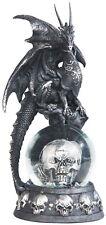 "COHORTS in BLACK  Dragon on Snow Globe -Pirate Skull  Statue figurine  H7.88"""