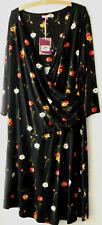 Ladies JOE BROWNS Dress S18 Black 'Poppy' Patterned Flattering Side sweep NWT