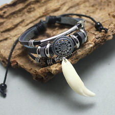 Ethnic style Retro Leather Bracelet White Wolf teeth bracelet Man Woman roundel