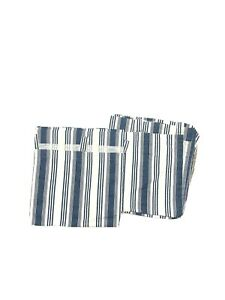 """2 Discontinued Waverly Tab Top Curtains Panels Drapes 80"""" Blue White Stripe Pair"""
