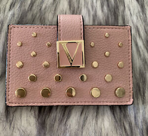 Victorias Secret Studded Cut-Out Card /& ID Holder Wallet Pink