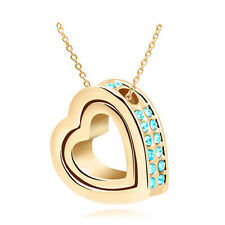 NEW Women Double Heart Sky blue Crystal Gold Charm Pendant Chain Necklace UB4S5