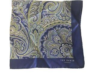 Ted Baker Blue Paisley Silk Pocket Square Handkerchief - New