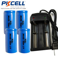 4 x 3.7V IMR18350 Li-ion Rechargeable Batteries + Smart Dual Charger PKCELL