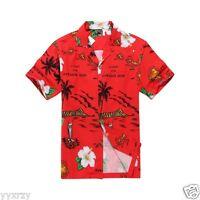Men Tropical Hawaiian Aloha Shirt Cruise Luau Beach Party Red Map Leaf Flower