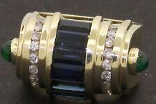 Heavy 14K gold 4.25CTW diamond emerald Blue sapphire cocktail ring size 6.75