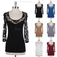 Open Knotted Back Cotton Top with 3/4 Floral Lace Sleeve and Neckline Lace Cute