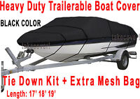 Crestliner Fish Hawk 1750 Trailerable Boat Cover B2001 Black Color