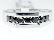 1.01 Ct Hombre Blanco Oro Auténtico Diamante Negro 7MM Compromiso de Boda