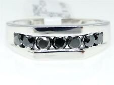 1.01 Ct Mens White Gold Real Black Diamond 7MM Wedding Engagement Band Ring