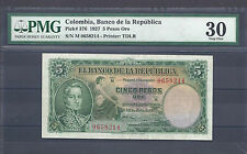 COLOMBIA BANKNOTES $5 1927 PMG CERTIFIED 30 VERY FINE