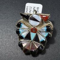 Zuni Handmade Multi-Stone Inlay Thunderbird Pendant with Sterling Silver