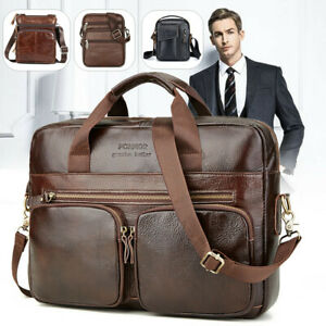 Men's Cowhide Leather Briefcase Business Laptop Shoulder Bag  Handba ~