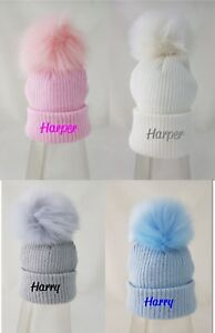 personalised / Plain embroidered 1 grey pink white fur pom Baby Girls Boys Hat