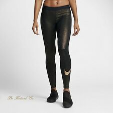 Nike Pro Women's Training Tights S Black Gold Metallic Gym Running Casual New
