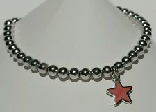 Sterling Silver Ball and Red Star Charm Bracelet