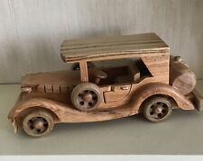 HANDCRAFTED VINTAGE WOODEN CAR  HOME DECORATIVE ORNAMENT WITH A NATURAL FINISH