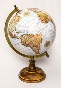 Wooden Antique World Globe White National Geographic Decorative Home Office