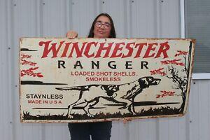 """Large Vintage Winchester Ranger Shotgun Shells Gun Store Hunting 48"""" Metal Sign"""